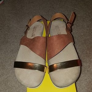 Brown suede and gold flat sandals